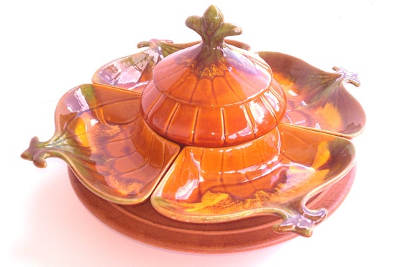California Pottery Lazy Susan - Pumpkin Motif Relish/ Chips and Dip Tray - Vintage and Hand Made -Great for Thanksgiving
