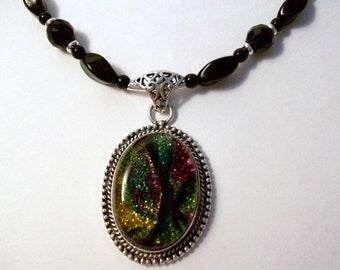 Dichroic glass pendant, necklace, black Czech beads, .925 Sterling silver clasp.