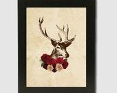 8x10 Rustic Romantic Stag Digital Art Print