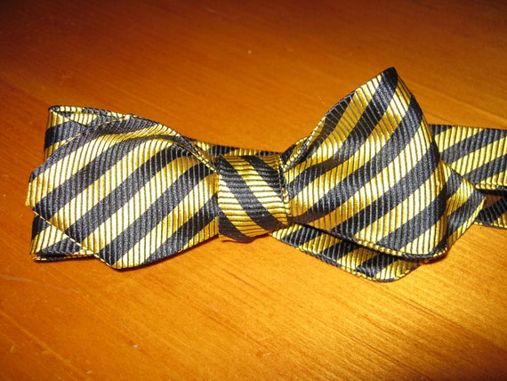 Beau Regards BLACK GOLD stripe silk men's bow tie, made from repurposed standard ties, guaranteed one of a kind