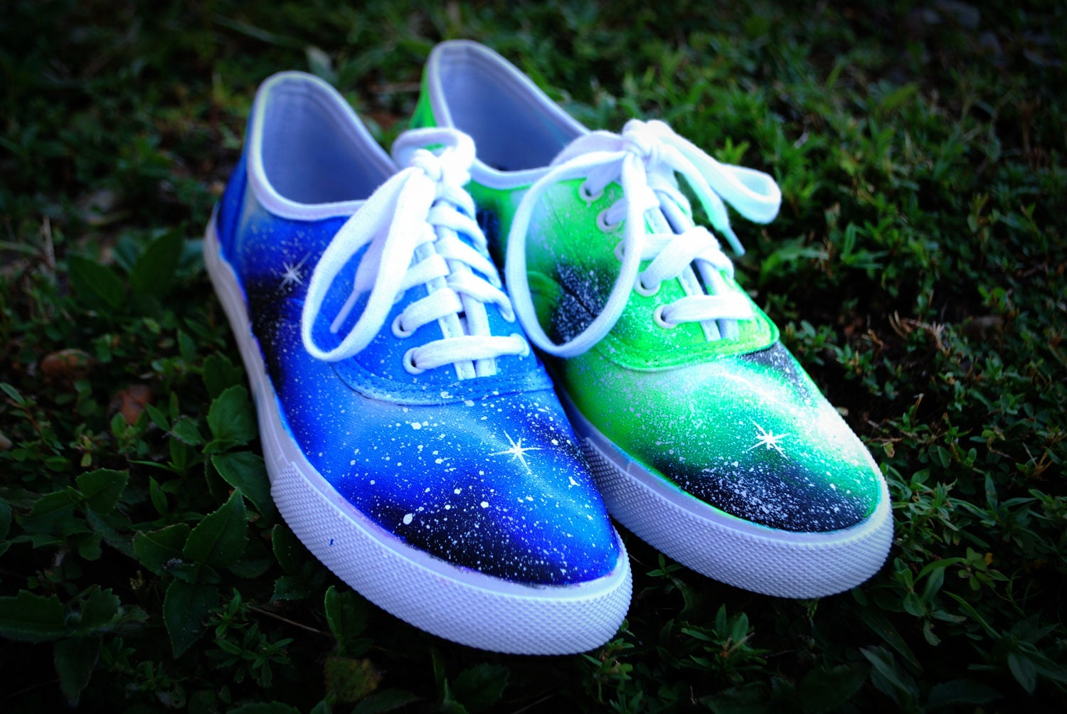 Blue and Green handpainted Galaxy Shoes by LittleArtMonsterr