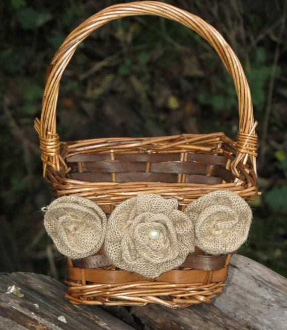 Rustic Burlap Flower Girl Baskets : Rustic burlap flower girl basket by rusticweekendchic