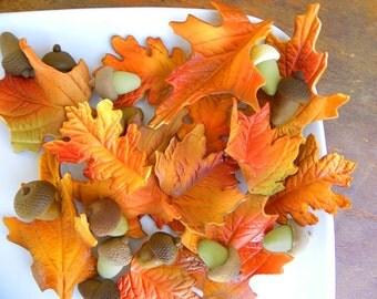 READY TO SHIP Gum paste Fall Leaves 12 qty fondant for Autumn Wedding, Woodland theme wedding, woodland them birthday, Autumn colors