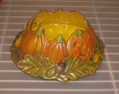 """Halloween, fall,Ceramic pumpkin candle holder or candy dish, hand painted by Joan Davis, 4"""" high and 8 1/2 """" wide."""