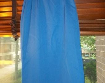 70s/80s Blue Barry Bricken Pencil Skirt