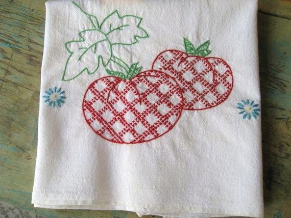 Vintage Kitchen Towel Floursack Towel Embroidered Kitchen