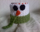 Snowman Mug Cozy - crochet handled mug wrap - snowman with scarf