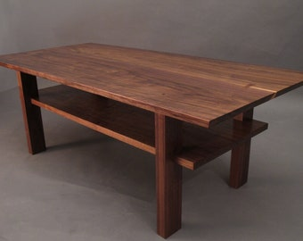 Walnut Coffee Table- small wood tables for living room, Narrow Coffee Table- Custom Mid Century Modern Furniture- CLASSIC COLLECTION