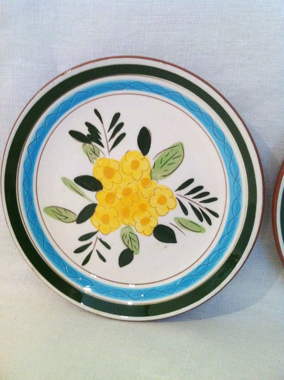 Vintage aqua yellow flower plates Stangl pottery Country Garden