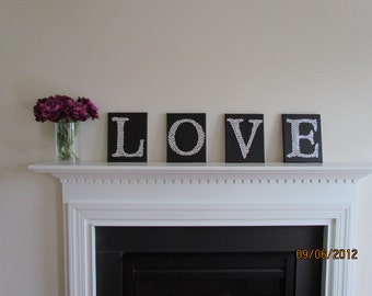 Bling Love Set  Canvas  Art - 4 8x10 Canvases