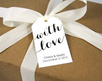 With Love Tag - Wedding Favor Tags - Custom Tags - Bridal Shower Tags - Personalized Tags - Custom Tag - Wedding Favor Tag - LARGE