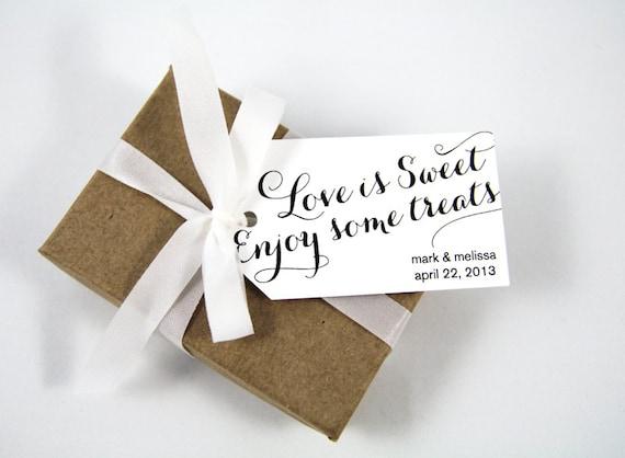 Wedding Favor Tag - Love is Sweet Enjoy some Treats - Custom Tag - Medium Size - 36 Pieces