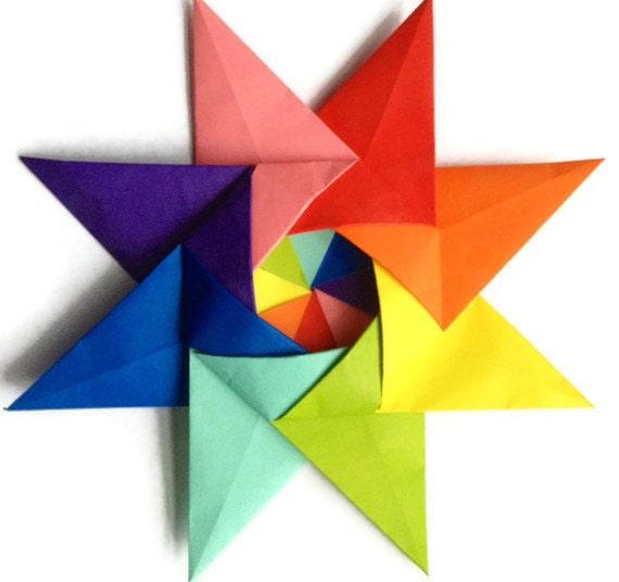 Origami Rainbow Kalami Star (Designed by Christine Blasek)