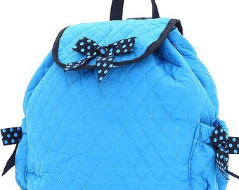 Belvah Personalized Monogrammed Quilted Backpack, School bag