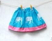 Girls Skirt Pink and Blue Elephant - Beach Wear