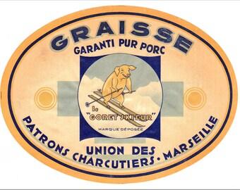 """French 1930s """"skiing piglet"""" lard tin label."""