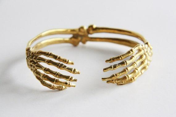 Hand Skeleton Bracelet - Brass Metal Cuff /Bangle