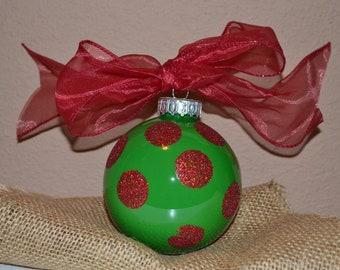 Green and Red Glitter Polka Dot Christmas ornament