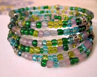Spring Bling Multi-color Pastel Memory Wire Bracelet