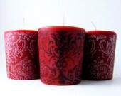 Scarlet Red- Damask Soy Votive Candle. Sacred Rose, Natural Perfumed Candle. Set of 4.