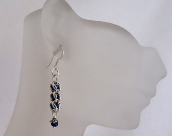 Sterling Silver Captured Chainmaille Earrings