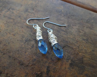 Blue Glass Wire Wrapped Earrings