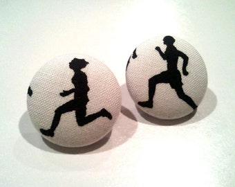 Marathon runners/ track and field black and white fabric button earrings
