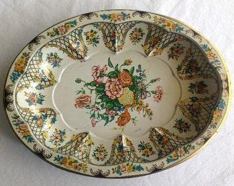 Vintage Daher Oval Tin Floral Serving Bowl MADE IN ENGLAND