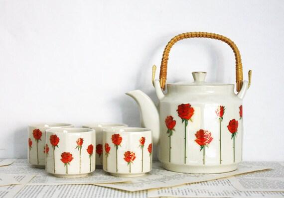 Rose Tea Set By Otagiri Of Japan 5 Pieces By Willandbequeath