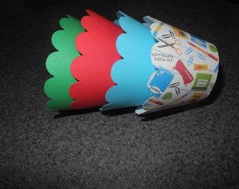 Teacher School Cupcake Wrappers- Set of 12 Celebrate School Teacher Students school supplies