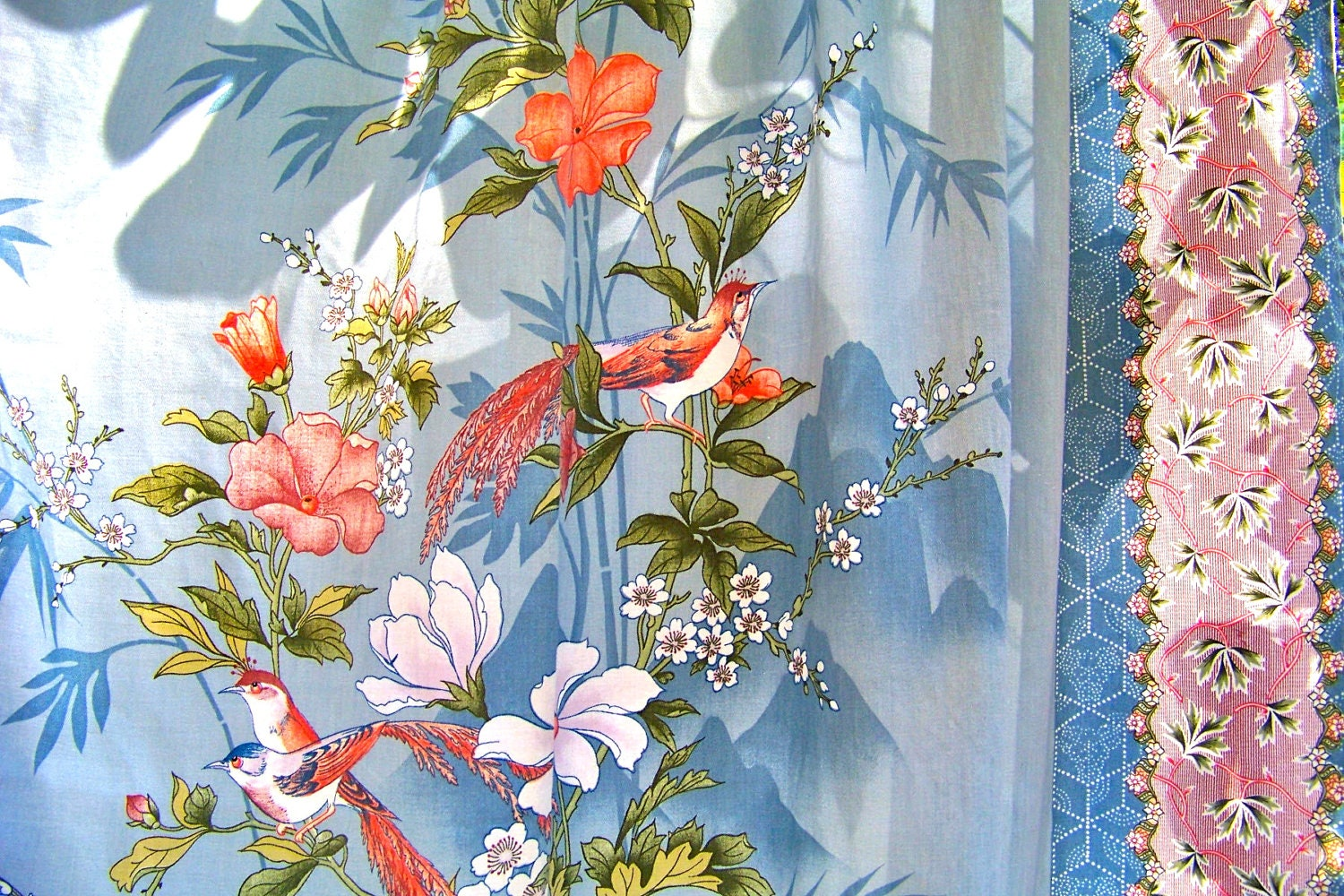 Vibrant Vintage Asian Inspired Curtain With Blue Birds