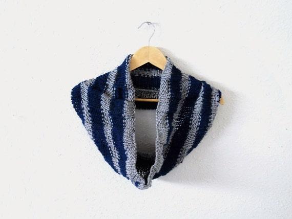 harry potter scarf -- hand knit striped hogwarts ravenclaw cowl neckwarmer
