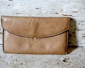 Vintage Taupe Leather Tooled Wallet