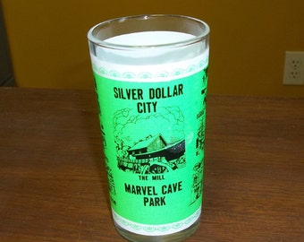 Vintage Souvenir Glass from Marvel Cave Park, Silver Dollar City, neon green color, bright