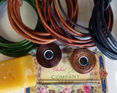 8 Yards Total of 4 shades of Distressed Brown/Green 2mm Genuine Leather and Thread to make Leather Wrap Bracelets