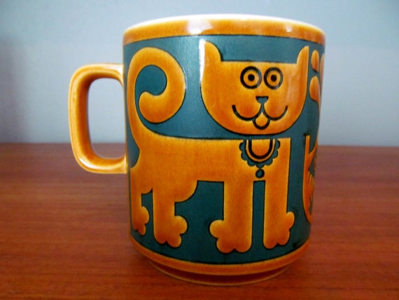 Hornsea Cat and Fish mug