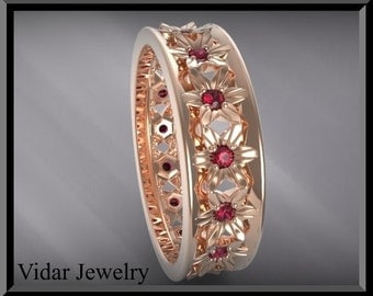 womens wedding bandwedding ringruby wedding band for herflower wedding band