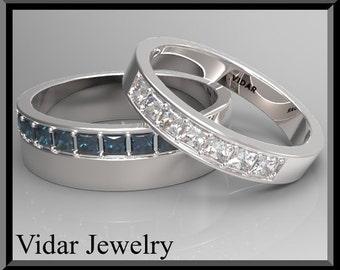 Wedding Band,Wedding Ring,His and Hers Wedding Band,Diamond Wedding Band Set - comfort fit.Matching Wedding Rings,Unique Wedding Ring,Custom