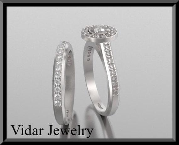 Engagement Ring Set,14k White Gold Round Diamond Engagement Ring and Wedding ring set,Bridal Wedding Band,Unique Engagement Ring Set,Halo