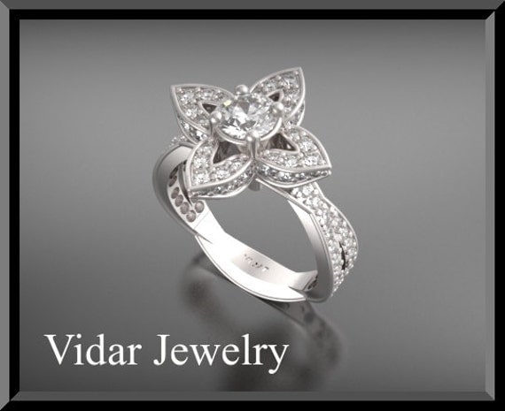 Flower Engagement Ring,Diamond Engagement Ring,Unique Engagement Ring,14K White Gold Engagement Ring,Leaves Engagement Ring,Lotus Engagement