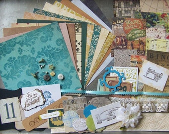 Grab bag Vintage-Style Ephemera Pack, Old Buttons, Lace, Tim Holtz paper and more. Scrapbook, Planner, Collage, Snail Mail, Card Kit