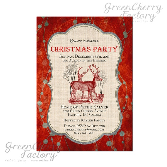 Retro Christmas Party Invitations: Items Similar To Vintage Christmas Party Invitation