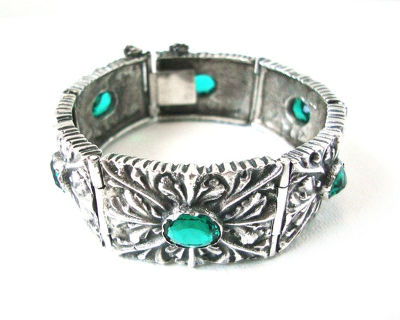 Heavy Cast Sterling Silver Bracelet With Faceted Emerald Green Glass Stones