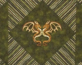 CLEARANCE! 50% off Machine Embroidered Dragon quilt, handmade, custom quilted OOAK