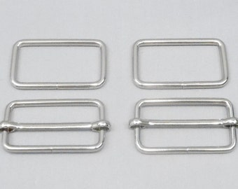 10 Sets 1.5 Inch (38mm) Silver Strap Adjusters and 1.5 Inch Rectangle Rings