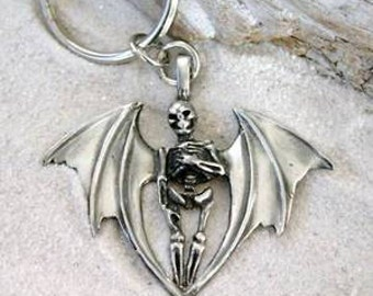 Pewter Skeleton with Bat Wings Gothic Halloween Keychain Key Ring (24A)