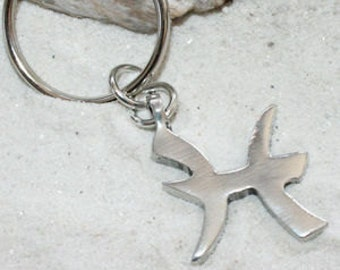 "Pewter Pisces ""The Fish"" Zodiac Astrology Sun Sign of February March Keychain Key Ring (27B)"