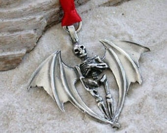 Pewter Skeleton with Bat Wings Gothic Halloween Christmas Ornament and Holiday Decoration (24A)