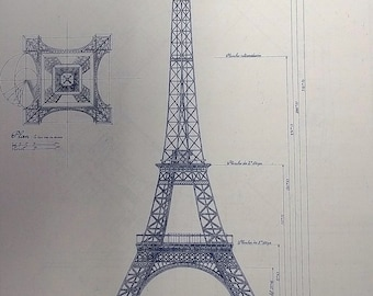Eiffel Tower In Paris Blueprint
