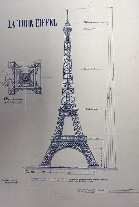 Eiffel Tower In Paris Blueprint By Blueprintplace On Etsy